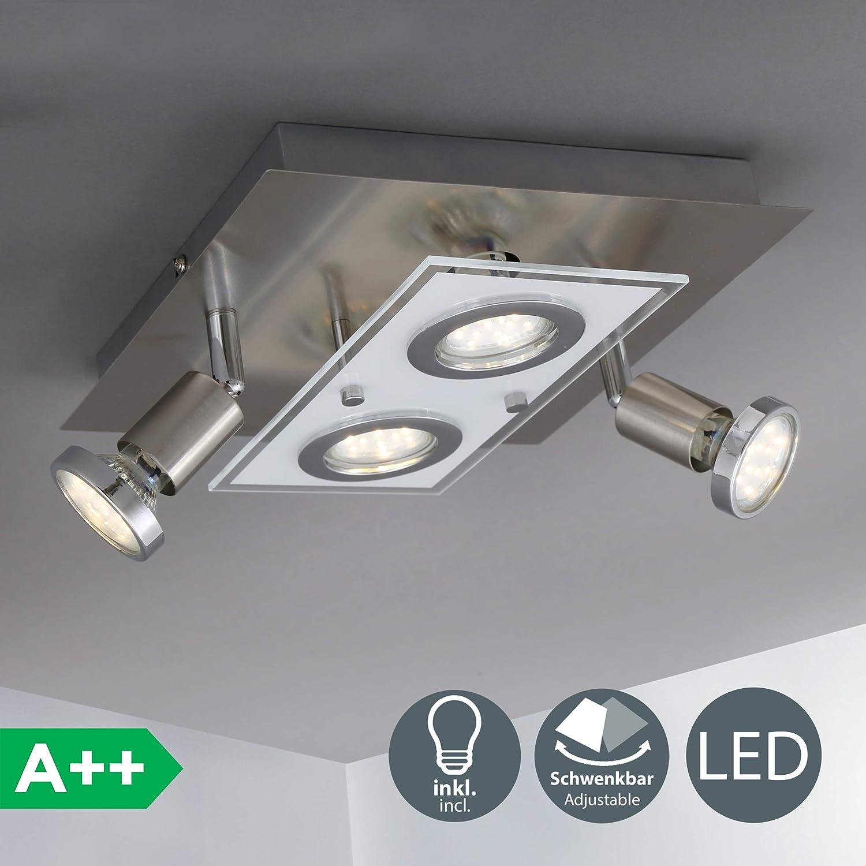 Lámpara de techo cuadrada moderna, focos giratorios incl. 4x3W LED GU10, luz blanca cálida 3000K, 250lm. 230V , Metal y cristal