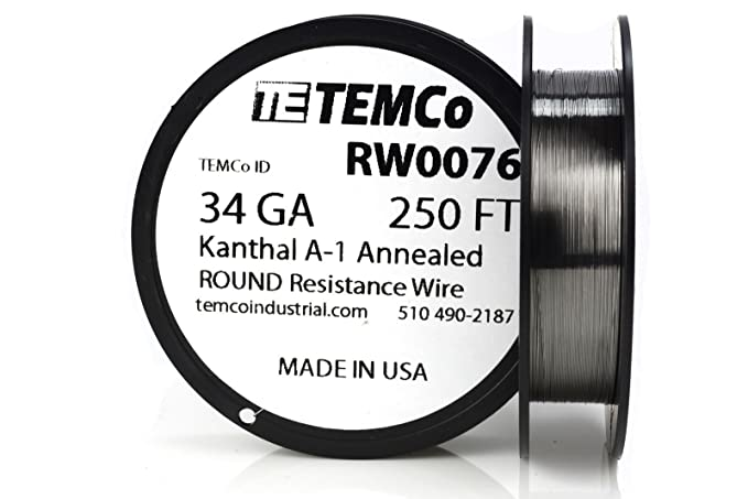 TEMCo Kanthal A1 wire 34 Gauge 250 Ft Resistance AWG A-1 ga ...