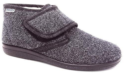 wholesale dealer 786fd b8a10 EMANUELA 995 - Edgar Grigio Pantofole Uomo Made in Italy con Strappo E  Fodera Lana Zeppa 2,5 CM Lavabili in Lavatrice A 30 Gradi