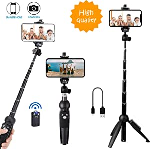 Bluehorn All in one Portable 40 Inch Aluminum Alloy Selfie Stick Phone Tripod with Wireless Remote Shutter for iPhone 11 pro Xs Max Xr X 8 7 6 Plus, Android Samsung Galaxy S9 Note8 Smartphone