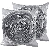 SeptCity Decorative Throw Pillow Covers for Couch Cushion Case, Romantic Love Satin Rose Wedding Party Home Decor, Home Gift (Set of 2)-Grey