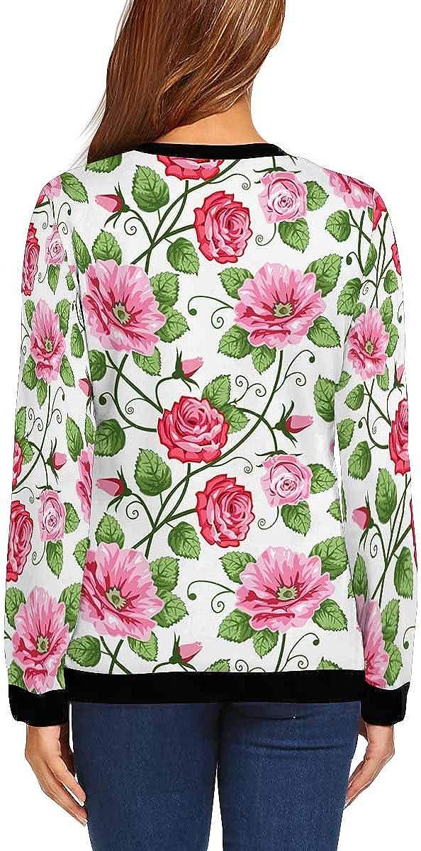 INTERESTPRINT Womens Crew Neck Long Sleeve Sweatshirt Roses Flower Pattern Lightweight Pullover Tops XS-XL