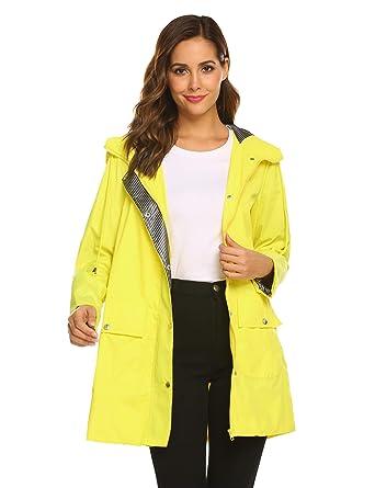 df994fb00 SUNAELIA Rain Jacket Women Waterproof with Stripe Liner Hood Lightweight  Raincoat Outdoor Windbreaker Trench Coat S