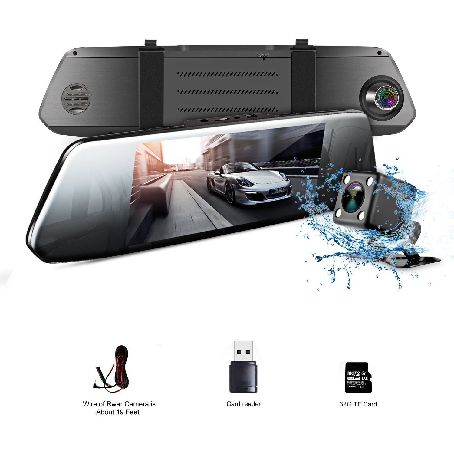 7'' LCD HD 1080P Car Camera | Aiwalot Driving Recorder with Dual Lens for Vehicles Front & Rear View Mirror | DVR Vehicles with 170° Wide Angle Lens and G-Sensor(Include 32G Micro SD Card)