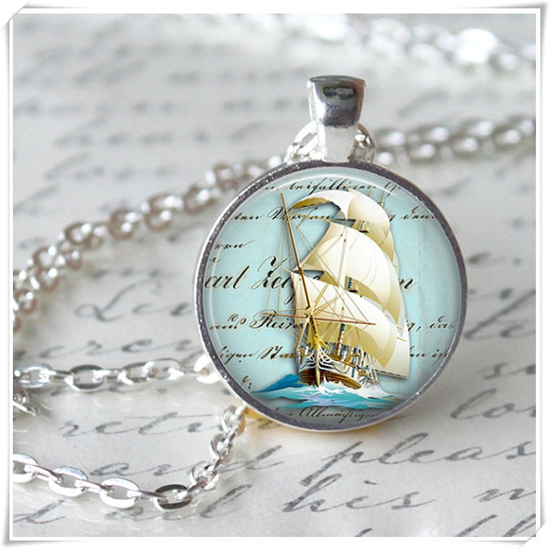 Leonid Meteor - Collar de barco de ducha, colgante de arte, collar oceánico, barco azul marino