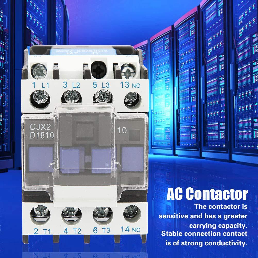 Akozon AC-Sch/ütz CJX2-1810 Hohe Empfindlichkeit Industrieller Elektrischer AC-Sch/ütz 220V 18A
