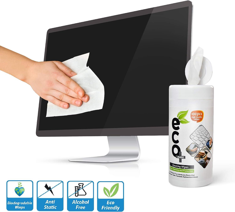 Ecomoist Toallitas de limpieza para pantallas LCD LED televisiones de plasma PC Notebook Monitores teléfonos móviles Tablet o teclado táctil (100 toallitas) respetuosas con el medioambiente: Amazon.es: Oficina y papelería