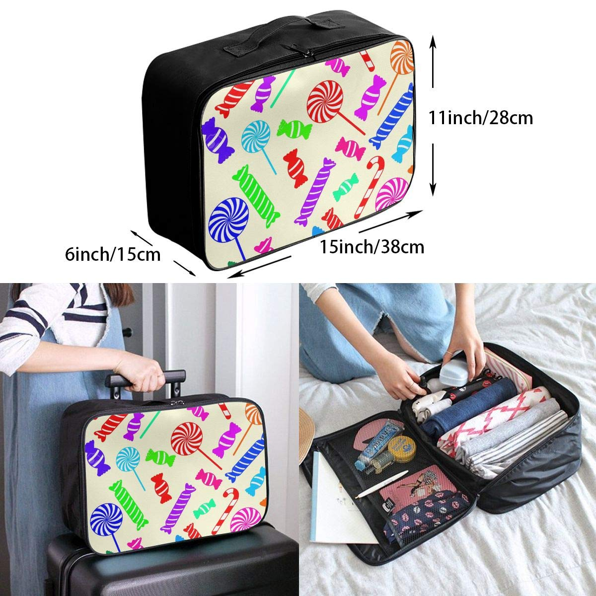 Travel Luggage Duffle Bag Lightweight Portable Handbag Candy Cane Large Capacity Waterproof Foldable Storage Tote