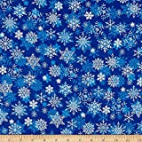 Santee Print Works Christmas Cheer Snowflakes Blue Fabric by The Yard