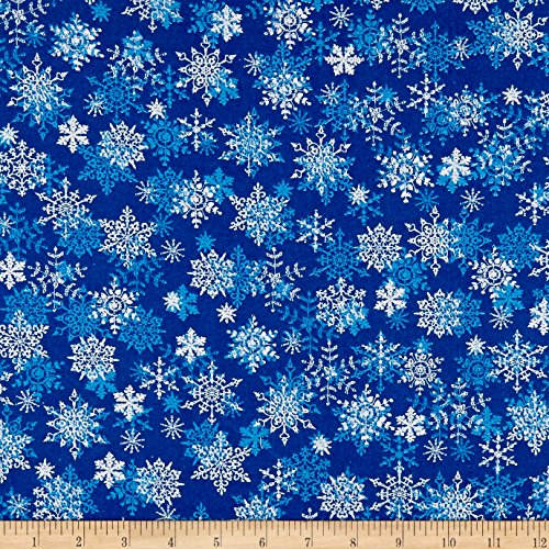 Cotton Print Quilting Fabric - Santee Print Works Christmas Cheer Snowflakes Blue Fabric by The Yard