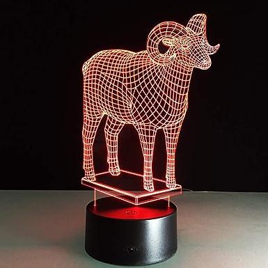 KangYD Lámpara LED 3D con forma de oveja, Regalo de Navidad ...