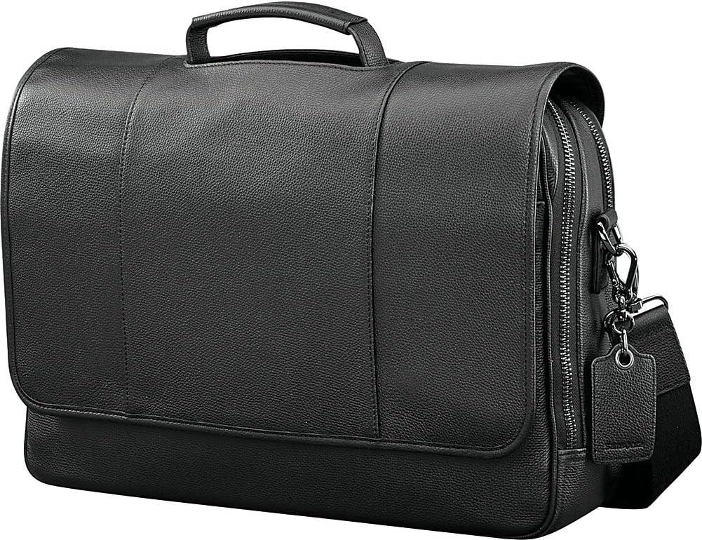 Samsonite Mens Leather Classic Flap Briefcase Black