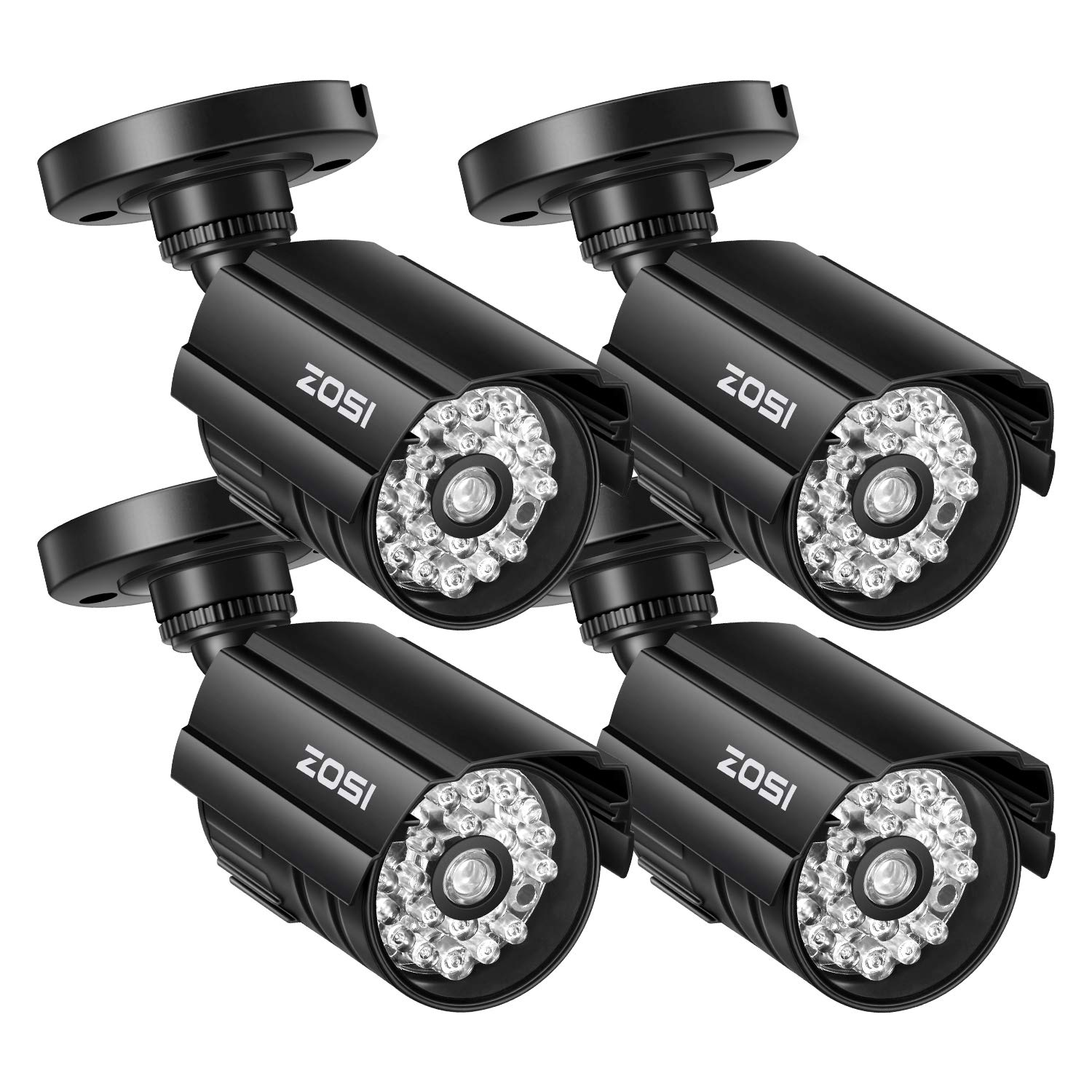 ZOSI 4 Pack Fake Security Camera Bullet with Red Light, Dummy Surveillance Camera Outdoor
