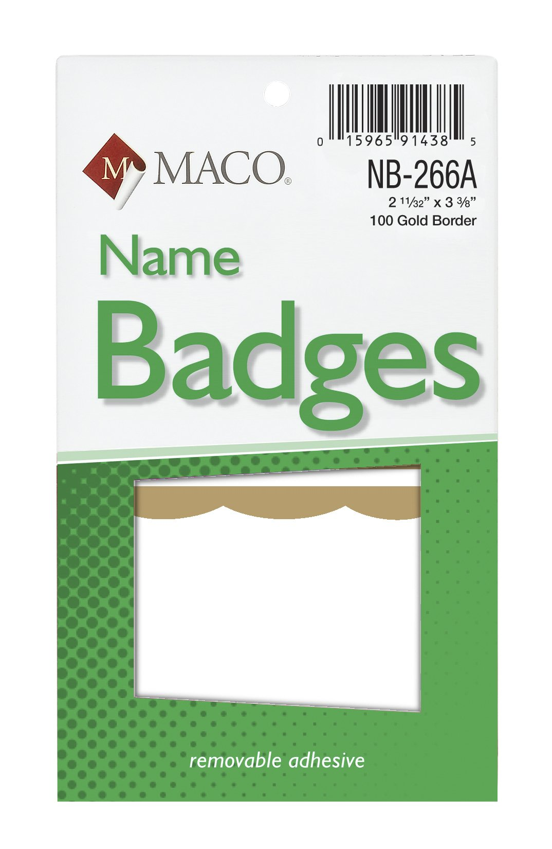 MACO Handwrite or Laser/Ink Jet Gold Border Name Badges, 2-11/32 x 3-3/8 Inches, 100 Per Box (NB-266A)