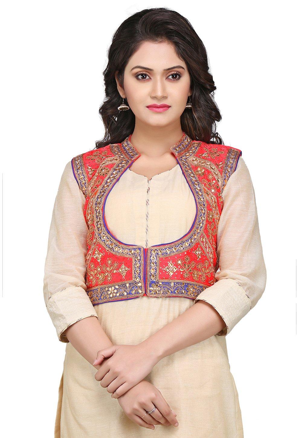 Utsav Fashion Gota Patti Embroidered Dupion Silk Jacket in Coral Red by Utsav Fashion