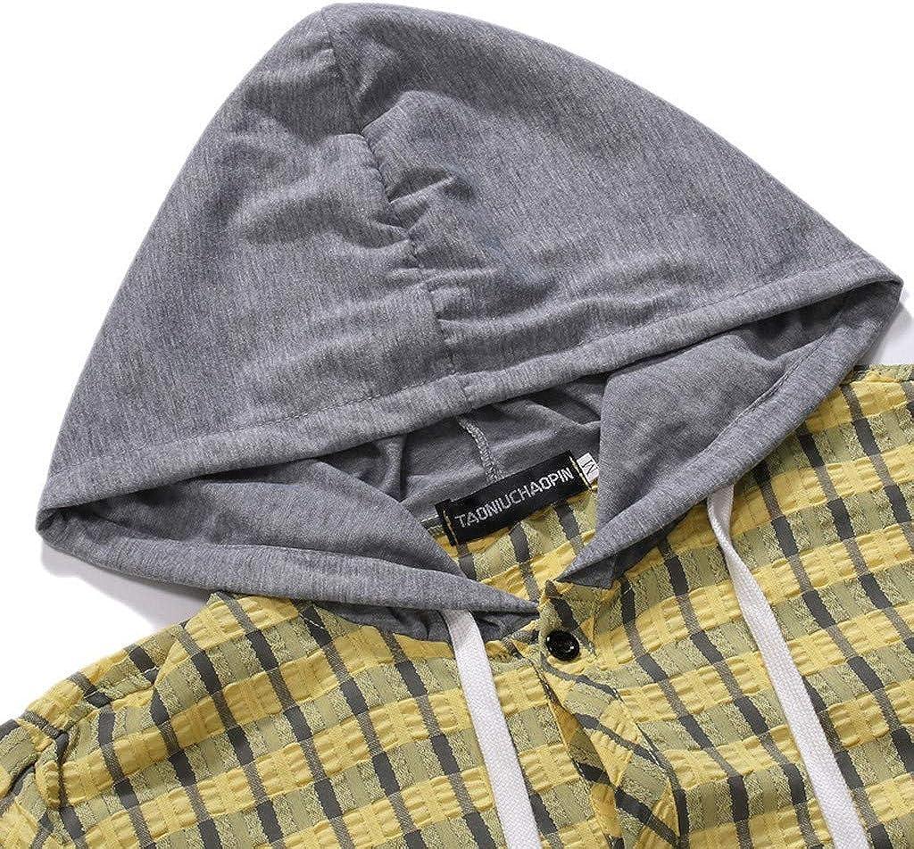 iSovze Casual Mens Fashion Striped Plaid Print Short Sleeve Hooded Button Shirt