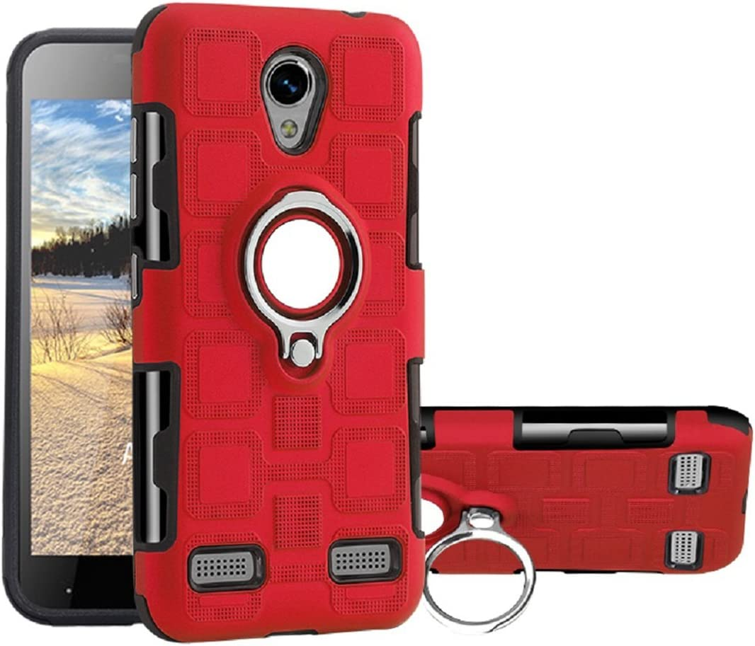 ZTE Blade L7 Case, Very Thin Square Style 360 Rotary Finger Ring Movie Stand Vehicle-Mounted Metal Plate Phone Cover, WEIFA Smartphone Case For ZTE L7 Red: Amazon.es: Amazon.es
