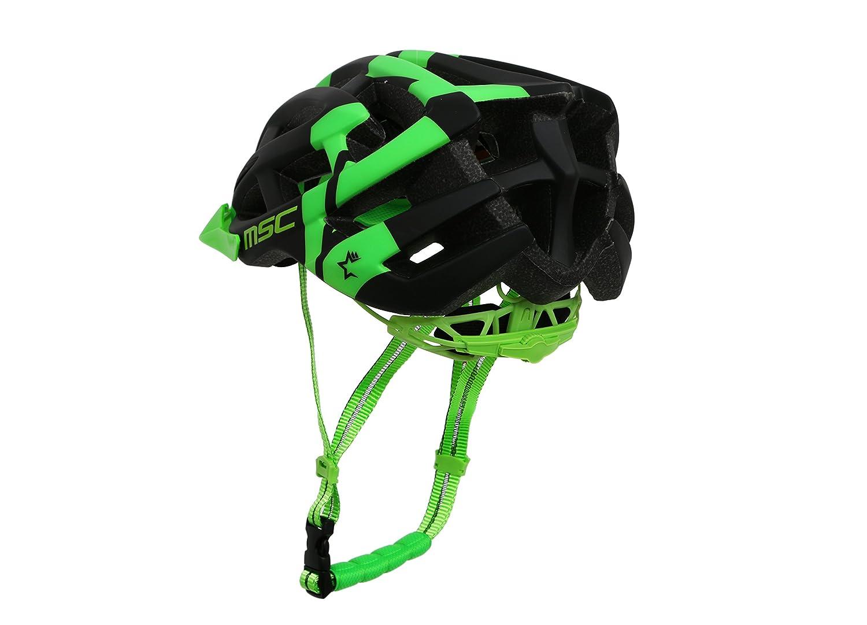 MSC Bikes HX100SMBKGN Casco de MTB Negro//Verde S//M 55cm-58cm