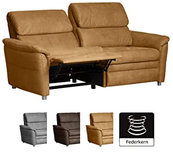 Cavadore 3 Sitzer Sofa Chalsay Inkl. Relaxfunktion / Mit Federkern / Moderne  Couch /