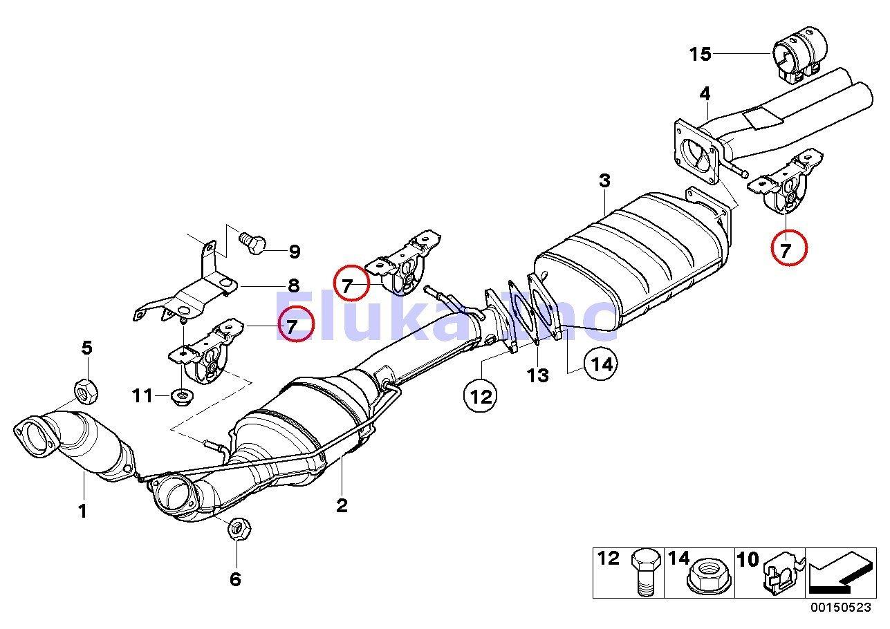 amazon com bmw front exhaust hanger rear center muffler x5 3 0i