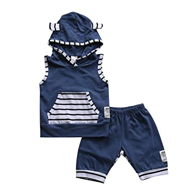 ee7dc716a97a2 Baby Boy Girl Fox Ear Sleeveless Stripe Hoodie Pullover with Pocket+ Short  Pants Outfit (0