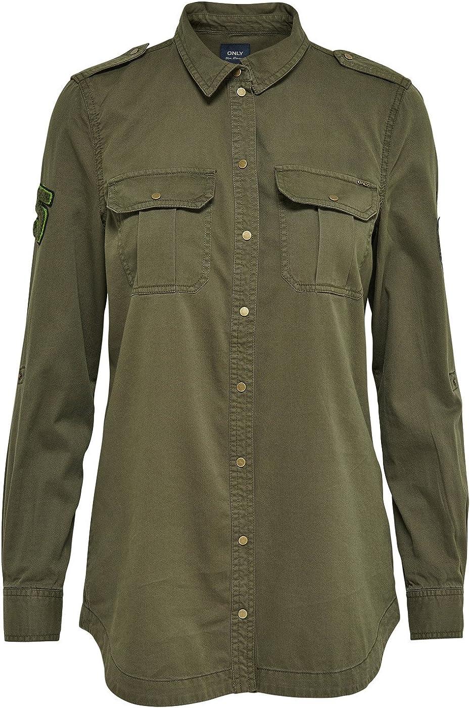 Only Camisa Militar Verde onlNevada (Verde - 40): Amazon.es: Ropa y accesorios
