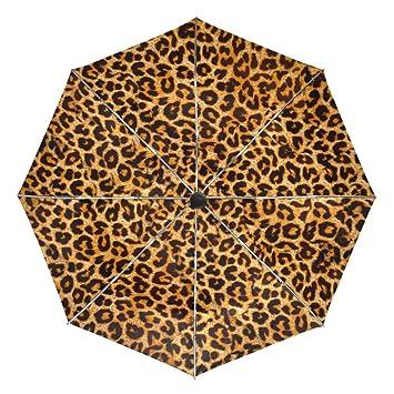 FAJRO- Paraguas de Viaje con patrón de Piel de Leopardo, Resistente al Viento,