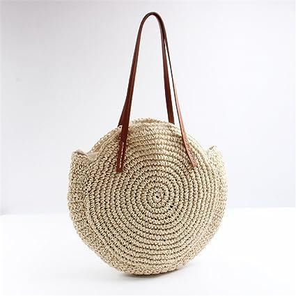 5d85e70769f4 Amazon.com: LAIHUIBAO Fashion Straw Weave Summer Large Women Bags ...