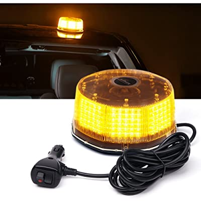 Xprite Amber Yellow 240 LED Emergency Warning Rotating Strobe Beacon Light, 14 Flash Modes Revolving Safety Caution Lights with Magnetic Mount, for 12V Vehicle Truck Snow Plow: Automotive