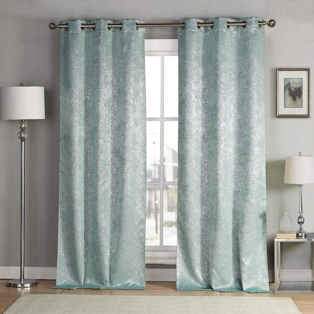 kensie Maddie Silver Metallic Textured Blackout Darkening Grommet Top Window Curtains Pair Drapes for Bedroom, Living Room-Set of 2 Panels, W38 X L84, Teal Blue
