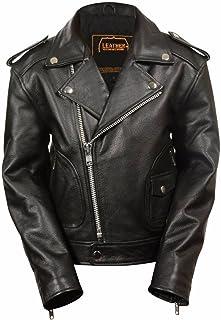 Amazon.com: Kids Classic Motorcycle Black Leather Jacket Basic for