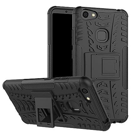 low priced f7aa3 a2f04 DMG Vivo V7 Plus Back Cover, Shockproof Rugged Hybrid Armor Kickstand Case  for Vivo V7 Plus (Black Mesh)