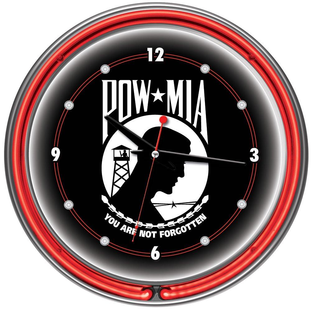 POW Chrome Double Ring Neon Clock 14 14 Trademark Global POW1400