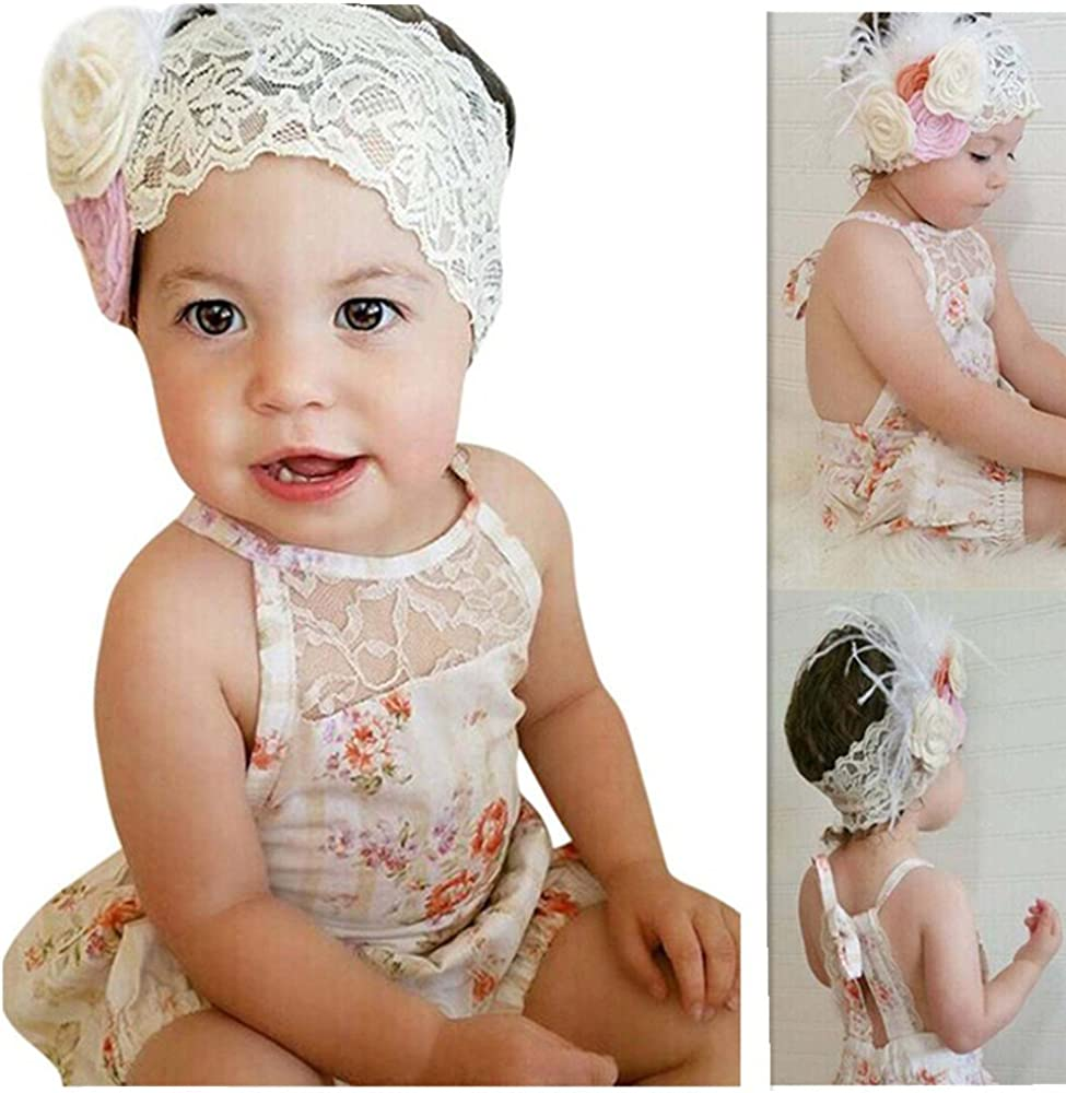 Franterd Baby Girls Straps Rompers Floral Print Sleeveless Backless Lace Jumpsuit Playsuit Clothes