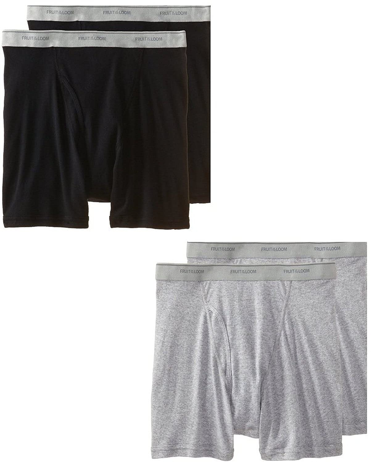 Fruit of the Loom Mens 4Pack Black Grey Boxer Briefs 100/% Cotton Underwear 3XL