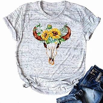 Amazon.com: Camisetas vintage con diseño de calavera, para mujer ...