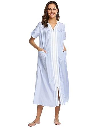 Ekouaer Sleepwear Womens Zipper Front Short Sleeve House Dress Long  Nightgown Blue Small 76f4f2768