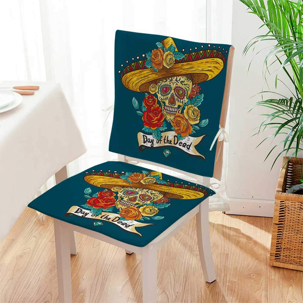 Mikihome Chair Pads 2 Piece Set Mexican Festive Hat Skull with Roses Print Petrol Blue Orange Marig Garden Home Kitchen Mat:W17 x H17/Backrest:W17 x H36