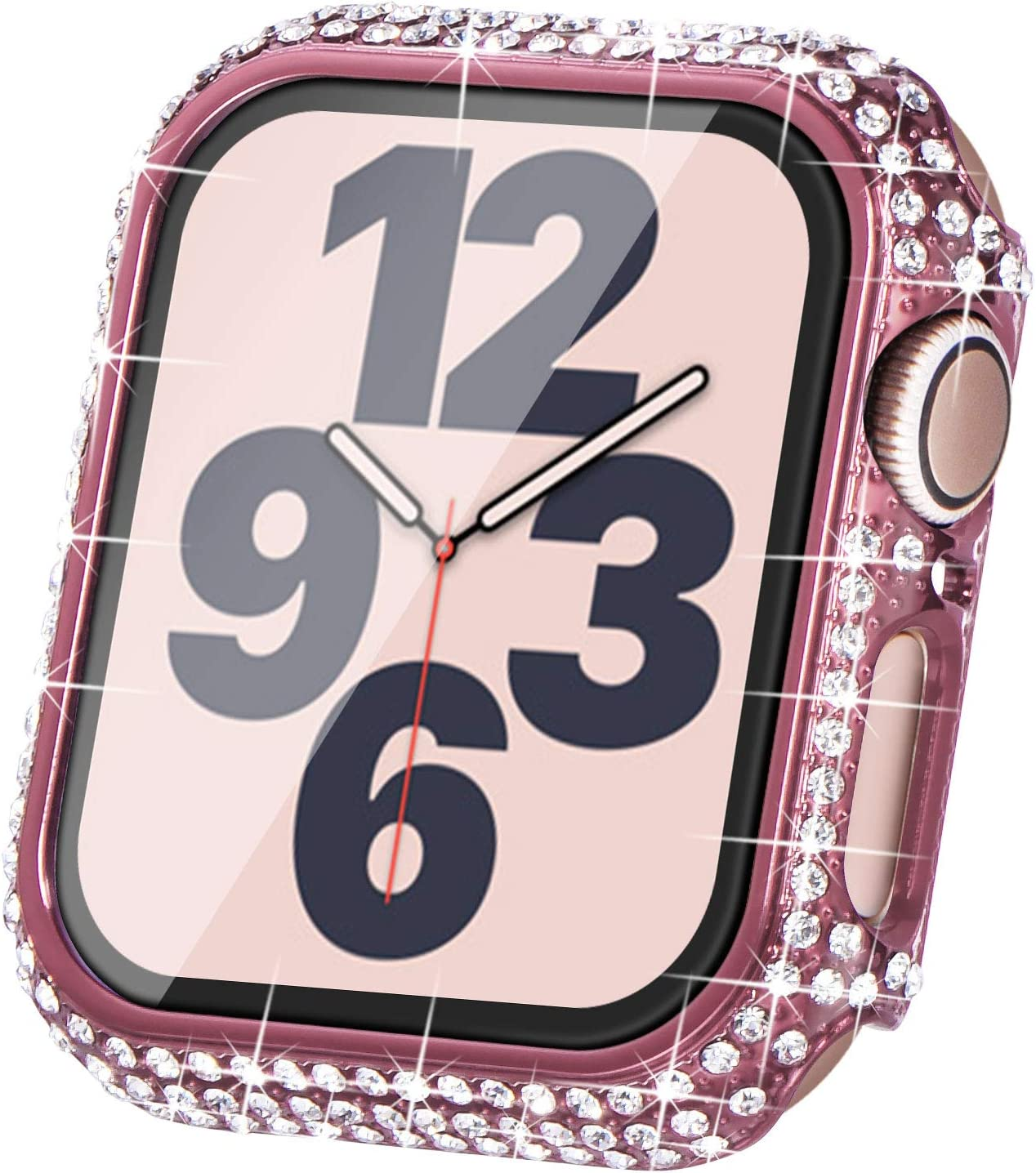 Surace Compatible with Apple Watch Case 40mm for Apple Watch Series 6/5/4/3/2/1, Bling Cases with Over 200 Crystal Diamond Protective Cover Bumper for 38mm 40mm 42mm 44mm (40mm, Pink)