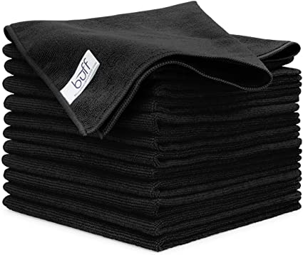 Buff™ Microfiber Cleaning Cloth | Black (12 Pack)