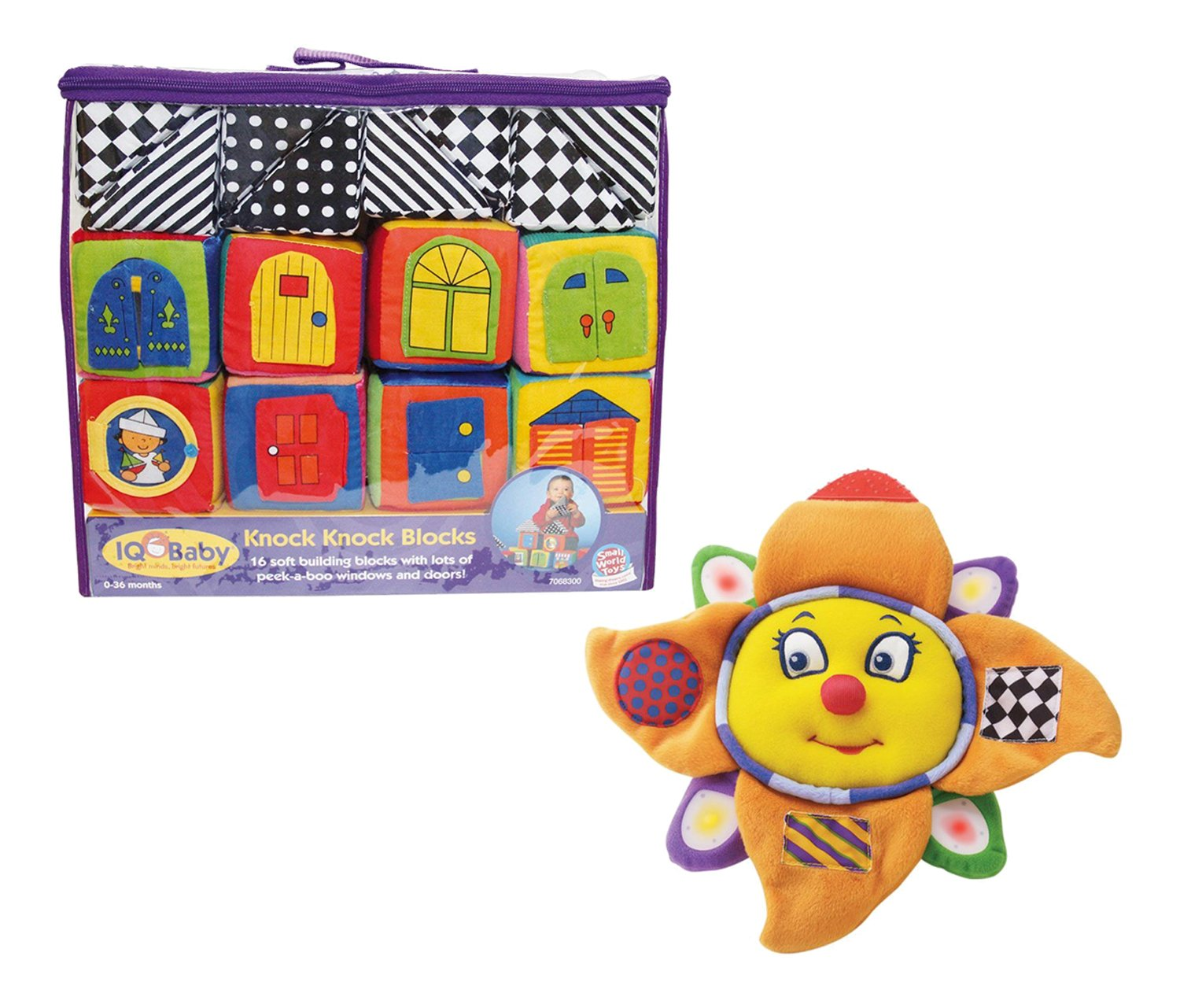 523a5fd7dabf ... Small World Toys IQ Baby Knock Knock Soft Building Blocks (16pc Set)  and Neurosmith Sunshine Symphony - Classical Music - Sparkling Lights -  Lullaby ...