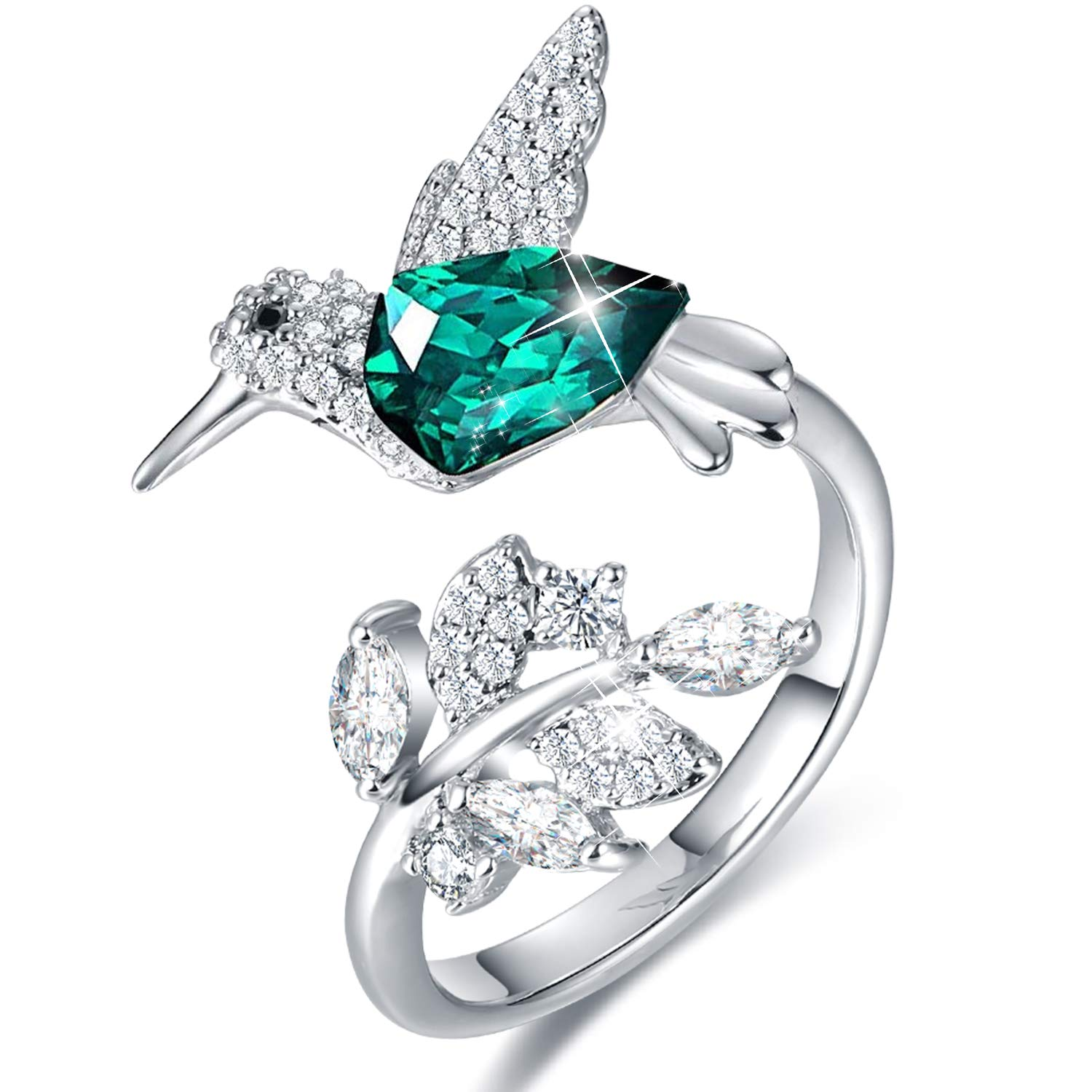 CDE Hummingbird Ring S925 Sterling Silver Rings for Women Embellished with Crystals from Swarovski Adjustable Rings for Women and Girls by CDE