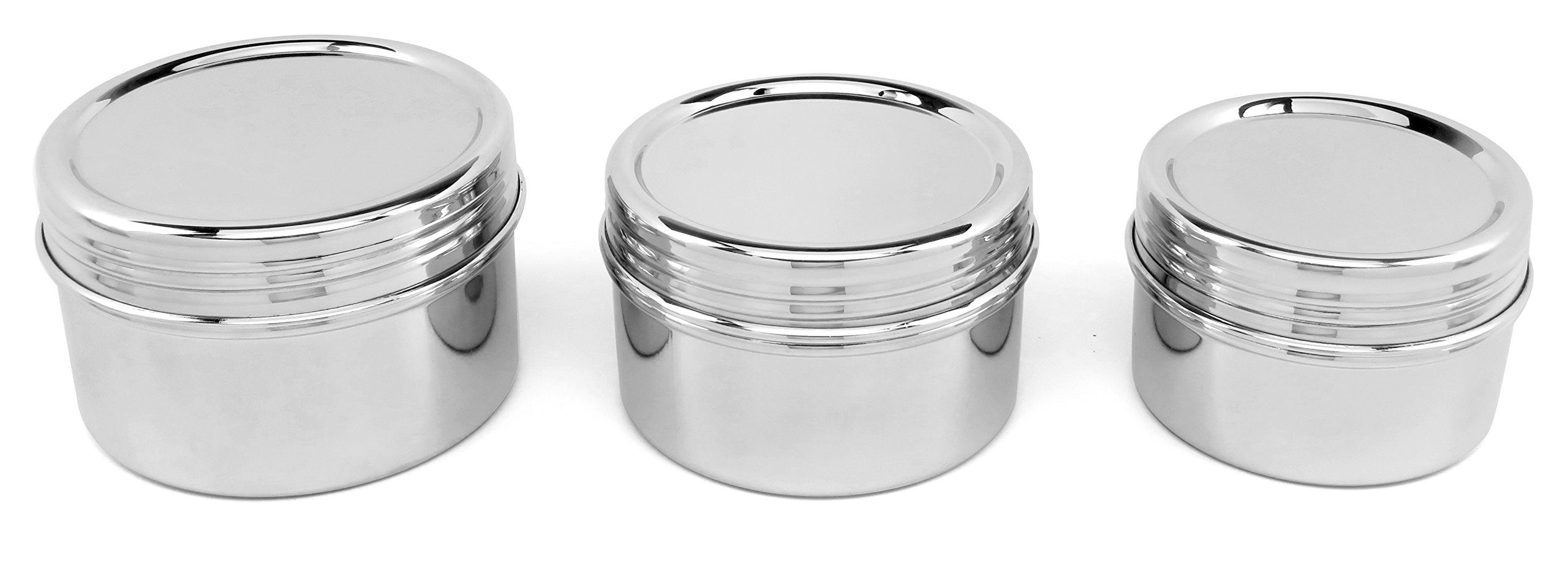 Lifestyle Block Stainless Steel 3 Piece Stainless Steel Lunchbox Canister Set with Screw On Lids