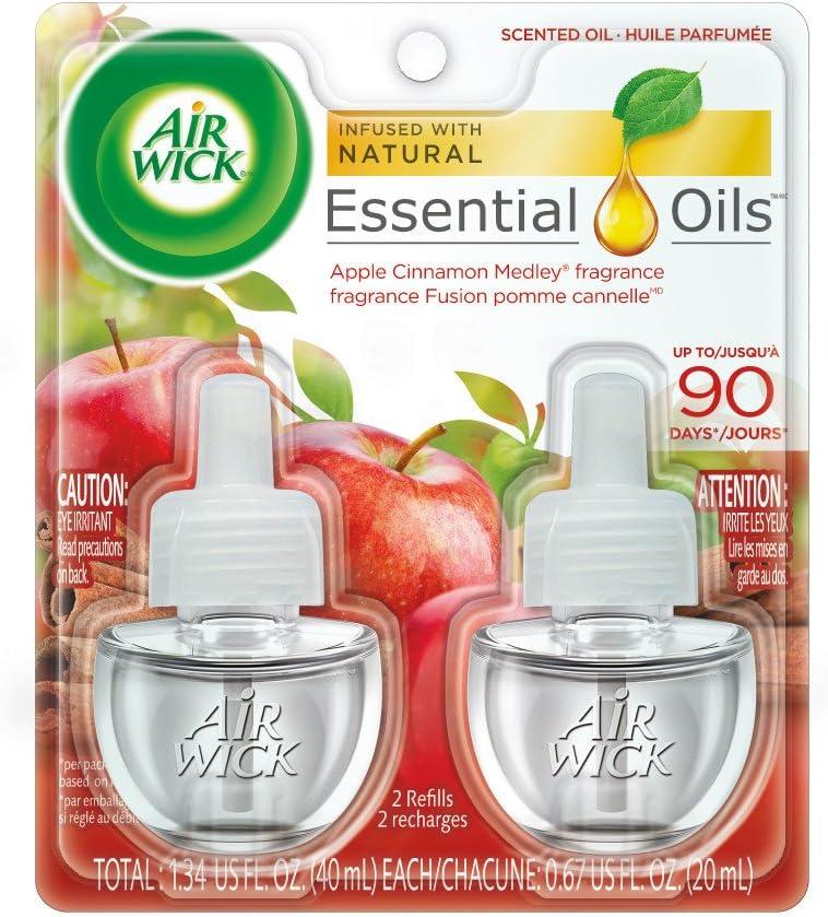 Air Wick Scented Oil 12 Refills, Apple Cinnamon Medley, (6X2x.67oz), Air Freshener