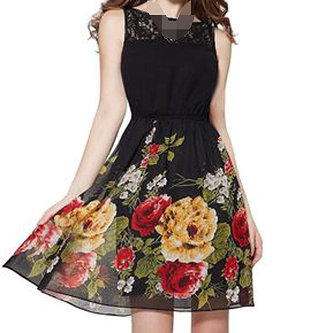 Fashion Summer Waist Lace Loose Casual Dress at Amazon Womens Clothing store: