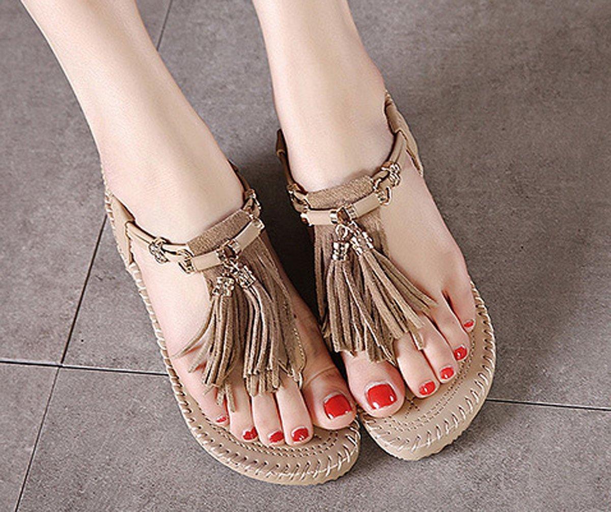 WAROFT Women's Adjustable Strap Flip Fringe Heel Wedge Sandal Flip Strap Flop Summer Beach Shoes B07CTJ8KHJ 7.5 B(M) US|Purple 2adb6a