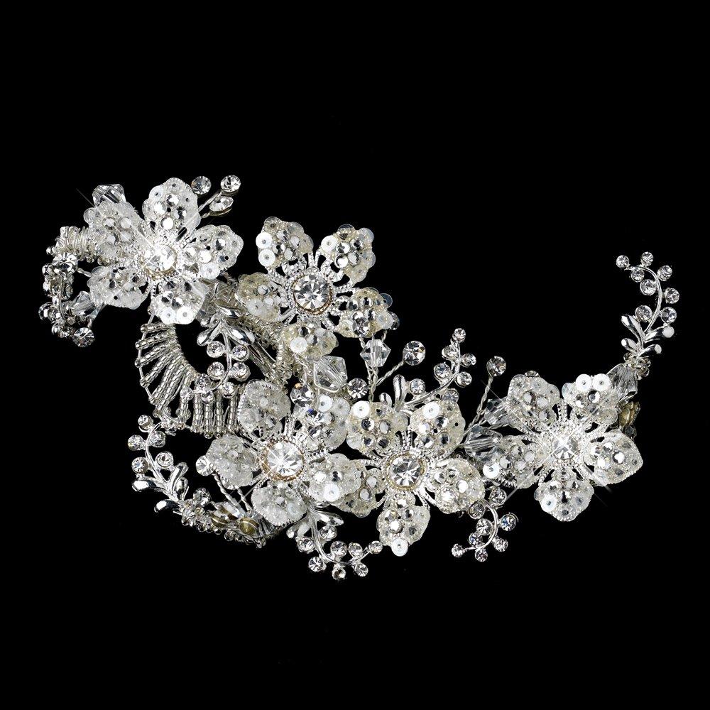 Sparkling Silver Clear Swarovski Crystal Bead, Rhinestone & Sequin Flower Bridal Hair Clip by Fairytale Bridal Tiara