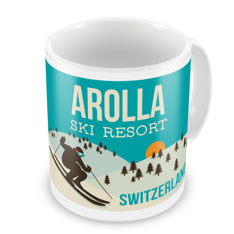 Amazon.com: Coffee Mug Arolla Ski Resort - Switzerland Ski Resort ...