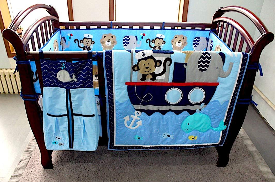 BabyCrib Unique Cute Adorable, Elephant, Monkey, Blue Sea Whale, 10 Piece Bedding Set, Including Crib Bumper, Diaper Stacker, and Bonus Baby Monthly Milestone Blanket For Newborn Baby Boy.