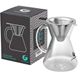 Coffee Gator Pour Over Brewer – Hand Drip Paperless Filter and Glass Carafe – Plus Hacks eBook – 14floz, 400ml